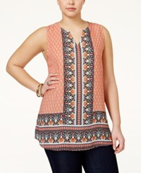 Eyeshadow Plus Size Border Print Sleeveless Top Multi
