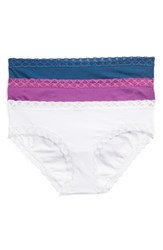 Natori Women's Bliss 3 Pack Cotton Girl Briefs Blue Sugar Plum White