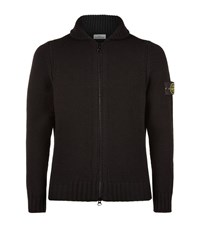 Stone Island Heavy Zip Knit Male Black