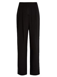 Serena Bute Velvet Back Silk Crepe De Chine Wide Leg Trousers Black