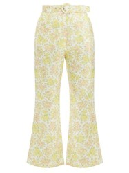 Zimmermann Goldie Floral Print Kick Flare Linen Trousers Pale Yellow