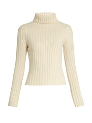 Ryan Roche Cashemere Roll Neck Sweater Ivory