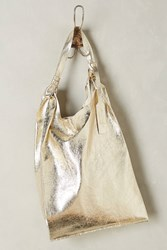 Anthropologie Reversible Leather Tote Silver