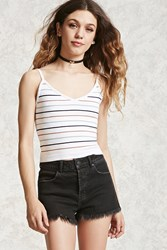 Forever 21 Ribbed Sweater Knit Cami White Multi