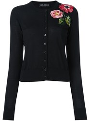 Dolce And Gabbana Sequinned Flower Cardigan Black