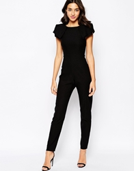 Vesper Sexy Jumpsuit With Origami Sleeve Black