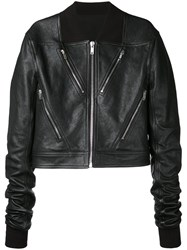 Rick Owens Cropped Biker Jacket Men Leather Polyamide Wool 50 Black