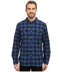 True Grit Rock Point Plaid Long Sleeve Shirt W Chambray Trim Marine Blue Men's Clothing