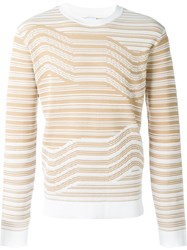 Opening Ceremony Striped Crew Neck Jumper Nude And Neutrals