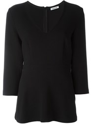 P.A.R.O.S.H. V Neck Flared Blouse Black