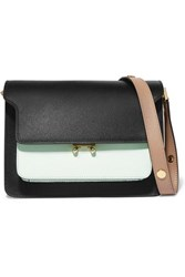Marni Trunk Small Color Block Textured Leather Shoulder Bag Black