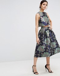 Asos Prom Skirt In Floral Jacquard Co Ord Floral Navy