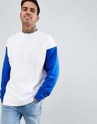 Asos Design Oversized Longline Sweatshirt In White With Contrast Sleeves White Saphire