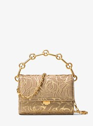 Michael Kors Yasmeen Small Rose Jacquard Clutch Chino Gold
