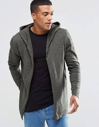 Asos Knitted Hoody Cardigan In Cotton Khaki And Black Twist Green