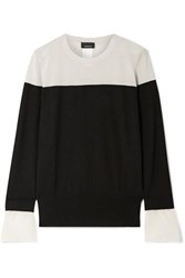 Akris Two Tone Crepe Trimmed Cashmere And Mulberry Silk Blend Sweater Black