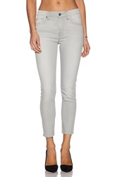7 For All Mankind Mid Rise Crop Skinny Light Gray
