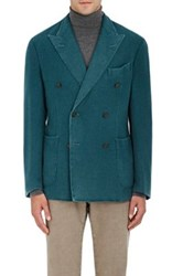 Boglioli Men's Lightweight Cashmere Double Breasted Sportcoat Turquoise