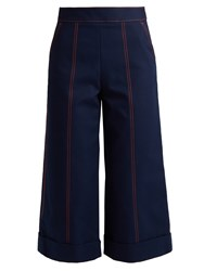 Msgm Wide Leg Cropped Cotton Trousers Navy