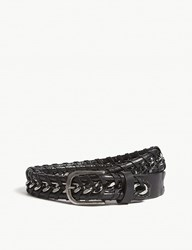 Zadig And Voltaire Chain Braided Leather Belt Black