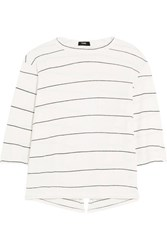 Bassike Split Back Striped Organic Cotton Jersey Top Off White