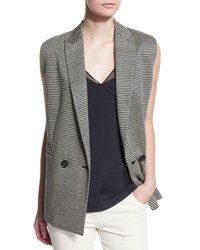 Brunello Cucinelli Sleeveless Striped Linen Gilet Black Butter