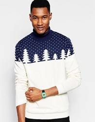 Asos Christmas Roll Neck Jumper With Cashmere Navy