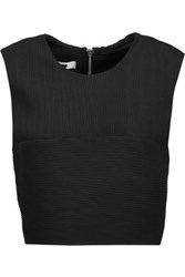 Mcq By Alexander Mcqueen Cropped Plisse Georgette Top Black
