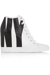 Dkny Appliqued Leather Wedge Sneakers White