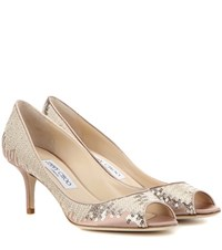 Jimmy Choo Isabel Sequinned Satin Peep Toe Pumps Neutrals