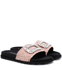 Roger Vivier Pool Slidy Embellished Slides Pink