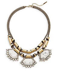 Saks Fifth Avenue Howlite Chain Statement Necklace Gold White