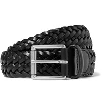 Andersons Anderson's 3.5Cm Black Woven Leather Belt Black