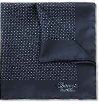 Charvet Polka Dot Silk Pocket Square Navy