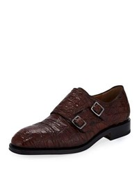 Salvatore Ferragamo Tramezza Crocodile Double Monk Shoe Saddle