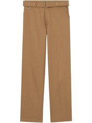 Burberry D Ring Detail Belted Cotton Trousers Neutrals