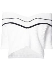 Carolina Herrera Chunky Knit Off The Shoulder Jumper Women Cotton Nylon L White