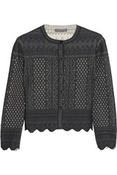Alexander Mcqueen Cropped Pointelle Knit Cardigan Black