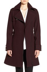 Catherine Malandrino Women's Water Resistant Fit And Flare Coat Oxblood