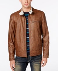 American Rag Men's Faux Leather Jacket Only At Macy's Sandal Brown