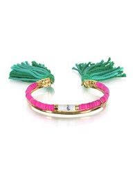 Aurelie Bidermann 18K Gold Plated And Pink Tinted Howlite And White Bamboo Beads Sioux Bracelet W Emerald Cotton Tassels