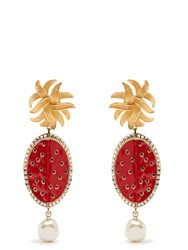 Dolce And Gabbana Watermelon Faux Pearl Clip On Earrings Red Multi