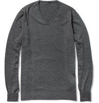 John Smedley Bobby Merino Wool V Neck Sweater Charcoal