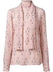 Valentino Triangle Print Blouse Pink Purple