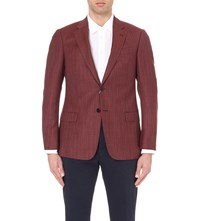 Armani Collezioni Regular Fit Wool Jacket Burgundy