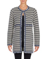 Ivanka Trump Striped Sweater Jacket Navy Ivory