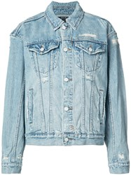 Ksubi Distressed Denim Jacket Women Cotton M Blue