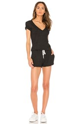 Monrow Double V Romper Charcoal
