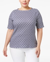 Charter Club Plus Size Pima Cotton Printed Top Only At Macy's Intrepid Blue Combo