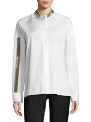 Each X Other Beaded Cotton Poplin Shirt White